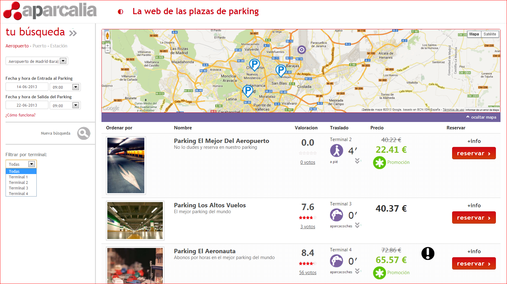 parking price comparator Aparcalia , to find long-stay car parks at airports, train stations and ports